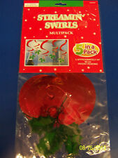 Holly Leaves Red Green Winter Christmas Holiday Party Hanging Swirl Decorations