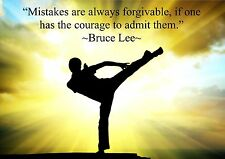 BRUCE LEE INSPIRATIONAL MOTIVATIONAL QUOTE POSTER PRINT PICTURE FORGIVE MISTAKES