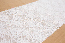 NEW! QUALITY DECORATIVE WHITE LACE VINTAGE WEDDING TABLE RUNNER 30cm x 235cm