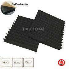 6 PCS Acoustic Studio KTV Wall Soundproofing Foam Self Adhesive 12T Wedge Black