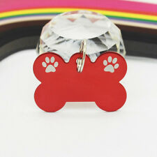 Eenraved Bone Dog Cat Pet Tags Personalized ID 6 Colors Foot Print Decoration