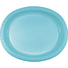 """8 Pastel Blue Wedding Birthday Party Tableware 12"""" Oval Paper Platter Plates"""