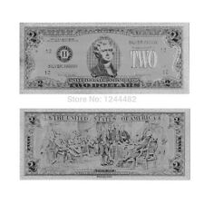 BANKNOTE USD $2 DOLLAR USA REPLICA SILVER LOOK!!