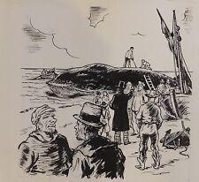 Dessin original de Pierre Rousseau pour Barnum, récit de cirque, baleine, 1954