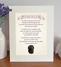 """Newfoundland 10"""" x 8"""" Free Standing Thank You Poem Fun Novelty Gift FROM THE DOG"""