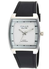 New Fashion Dress Style Omax Mens Watch Black Strap Silver Dial Analog Quartz