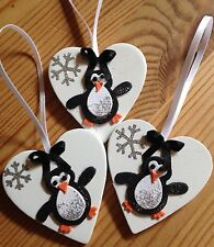 3 X Penguin Christmas Tree Decorations Shabby Chic Real Wood Heart Black Bows