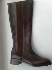 New DONALD J PLINER leather boots brown WIDE CALF strech shoes US 9  8.5 EU 40