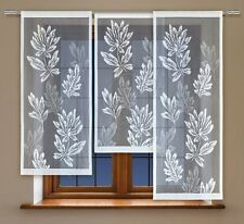 3 Parts Jacquard floral window net curtain panel ready to hang up WHITE