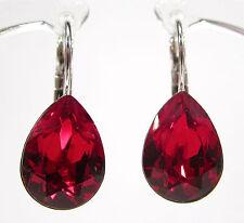 SoHo® Ohrhänger Ohrringe mit 14x10mm geschliffenen Kristall tropfen siam rot