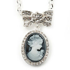 Diamante 'Cameo With Bow' Pendant Necklace In Antique Silver Metal Finish - 56cm