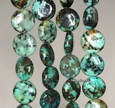 10MM AFRICAN TURQUOISE GEMSTONE AA GREEN FLAT ROUND CIRCLE 10MM LOOSE BEADS 7""