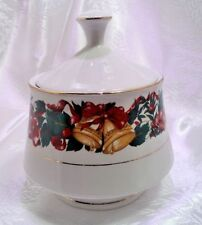 LYNNS FINE CHINA HOLIDAY CHEER LIDDED SUGAR BOWL  w/ LID