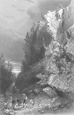 PULPIT ROCK BEDFORD NEW HAMPSHIRE WHITE MOUNTAINS ~ Old 1838 Art Print Engraving