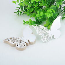 50PCS White Butterfly Escort Wine Glass Paper Card for Wedding Party Bar Decor