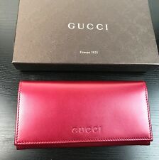 NWT AUTHENTIC GUCCI GG Envelop Style Ladies Wallet Metallic Cherry Red Leather