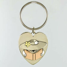 Far Fetched BOOK Lady KEYCHAIN Silver Copper Brass Key Ring Tag READING - Boxed