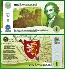 Lewes £1 Banknote, 2014 edition, UK regional currency, Perfect, UNC. condition.
