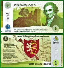 Lewes £1 Banknote, 2014 edition, UK Local Currency, Perfect, UNC. condition.