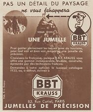 Z8420 Jumelles BBT KRAUSS - Pubblicità d'epoca - 1935 Old advertising