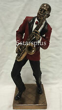 Jazz Band Saxophone & Double Bass Player Statue Sculpture Figurine