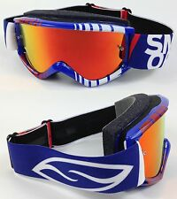 SMITH FUEL V1 MAX BLUE VERT MOTOCROSS MX GOGGLES with RED INFERNO MIRROR LENS