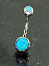 Blue Color Fire Opal Stone Double Opal Stone 316L Surgical Steel Belly Ring 14G