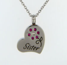 Sister With Pink Flower Cremation Jewelry Pendant Keepsake Urn Chain & Funnel
