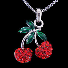 Lovely Red Cherry Fruit Use Swarovski Crystal 18K Gold-plated Necklace