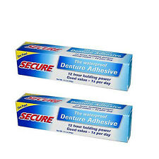 Secure Denture Adhesive Cream 1.4 Oz 2 Pack 12 Hour Holding Power Free Shipping