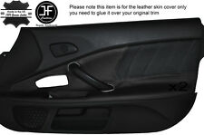 BLACK PERFORATED & BLACK LEATHER 2X DOOR CARD TRIM COVER FITS HONDA S2000 04-09
