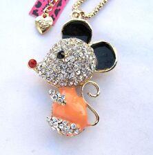 Betsey Johnson Shiny crystal enamel Cute little mouse pendant Necklace#339L