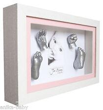 New 3D Large Baby Casting Kit + White Deep Box Frame Pink Girl's Memory Keepsake