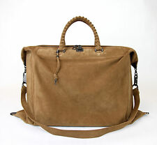 $3250 New Auth BOTTEGA VENETA Suede Travel Bag Woven Detail,Brown,314961 2517