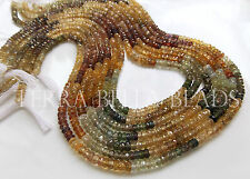 "8"" strand NATURAL ZIRCON faceted gem stone rondelle beads 4mm multicolor"