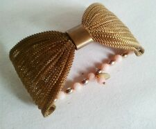 NEW DOTTY K NET-A-PORTER LARGE BRASS BOW AND CORAL BEADS CUFF