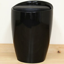 Black ABS & Faux Leather Ottoman Hidden Storage Stool/Seat/Tub/Chair/Bedroom