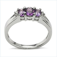 925 Sterling Silver Ring with Amethyst & Diamond Size: P