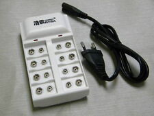 8-channel 9V Charger for rechargeable NiMH and lithium batteries