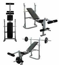 Weight Bench Set Multi Gym With Leg Extension 6ft Bar, 65kg Cast Plates