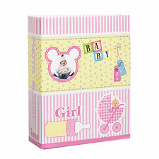 Small Baby Girl Pink 6x4 Photo Album Slip in Case for 100 Photos AL-9139