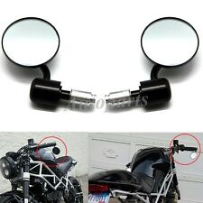 "Black Universal Motorcycle 3"" Round 7/8"" Handle Bar End Rearview Side Mirrors"