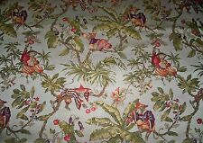 STUNNING WHIMSICAL CHINOISERIE MONKEYS BROCADE FABRIC 9 YARDS CREAM MULTI