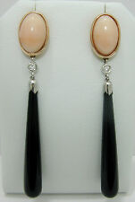 Paio di orecchini in oro corallo rosa diamanti onice agata - Art. 634 + garanzia