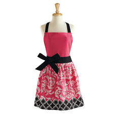 BLACK & PINK RIVIERA Retro Chic Apron with Bow, 100% Cotton, by DII