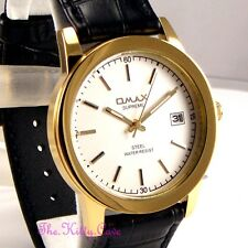 OMAX Waterproof Stainless Steel Gold Pl Gents Unisex Leather Date Watch SGLDG22I