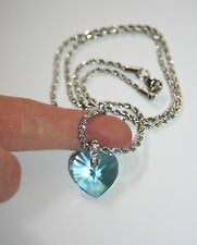 Swarovski light Turquoise crystal heart stainless steel modern necklace