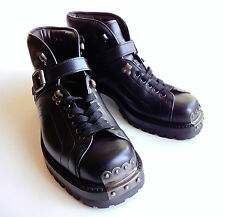 $990 PRADA Men's Runway PALLADIO Premium Heavy Duty Leather Boots US9 UK8.5 42.5