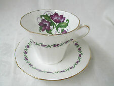 Vintage England Mayfair Fine Bone china Cup & Saucer purple anemones H550