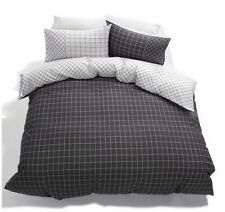 GREY WHITE CHECK REVERSIBLE DOUBLE bed QUILT DOONA COVER SET US FULL SIZE